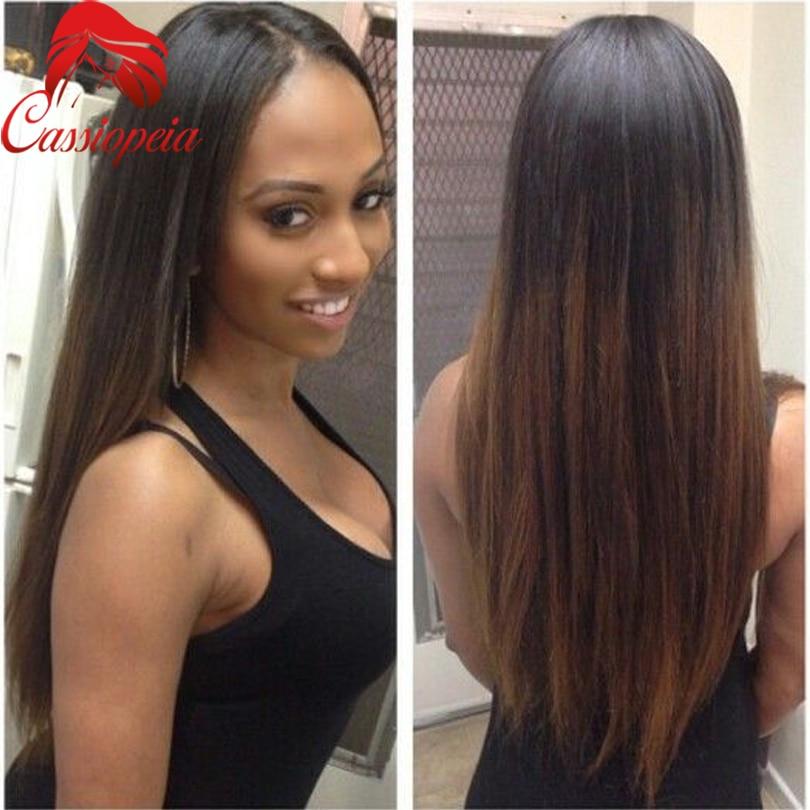 Brown Blonde U Part Ombre Wig Peruvian Virgin Hair Silky Straight