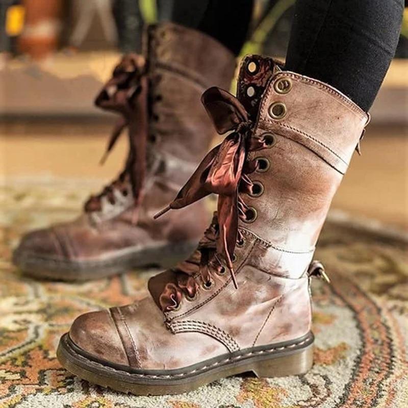NAN JIU MOUNTAIN nouvelles chaussures pour femmes printemps et automne bottes plates Martin en cuir bottes plates chaussures femme grande taille 35-43