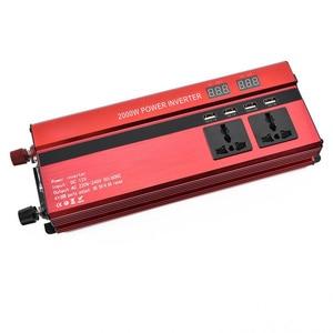 Image 3 - 2000 W Inverter Auto Dual LCD di Visualizzazione Tensione di 12 v a 110 v Inverter di Potenza 4 USB Caricabatteria da Auto Auto Power inverter AC Dual Tappi Per Le Orecchie