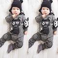 Da criança Do Bebê Da Menina do Menino CartoonPlaysuit Outfits Roupas Casuais