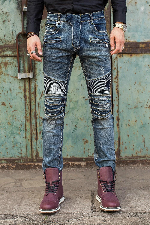 ФОТО Free Shipping New Men Jeans Fashion Men Biker Jeans Slim Fit Zipper Ripped Denim Design Straight Skinny Jeans Men Hip Hop Jeans