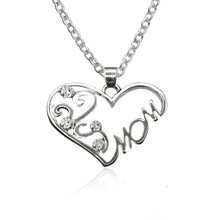 """Fashion Korean Mother and Child Love """"Mom"""" Crystal Pendant Necklace Mother's Day Gifts Sweater Chain Necklaces For mother"""