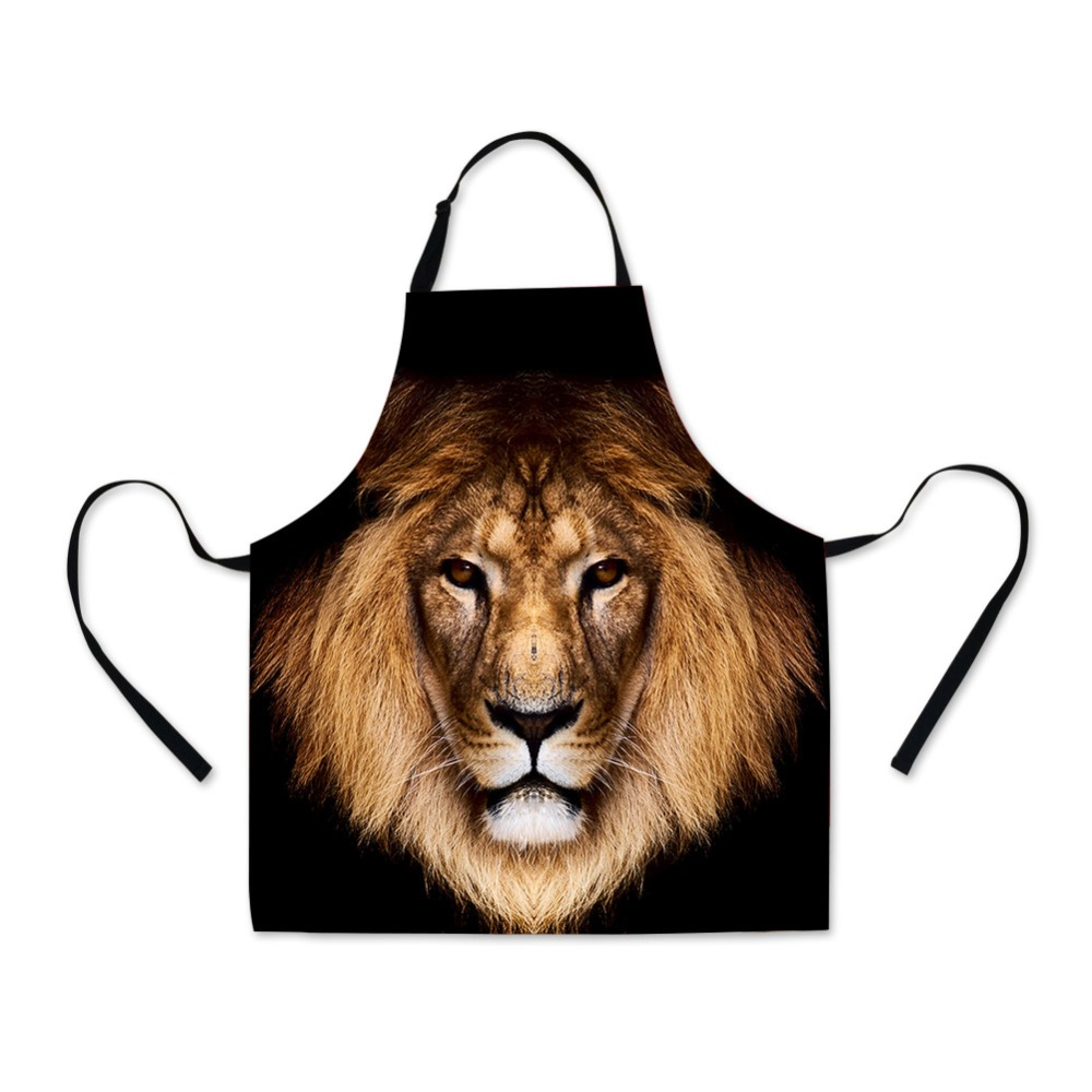 23be62184eca Lion Wolf Printing Full Apron for Men Cooking Cool Animal Pattern School  Apron for Boys Personalized
