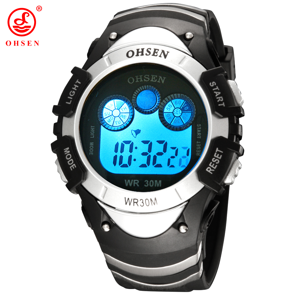 OHSEN Marca Mens Meninos Digital Sport Watch Waterproof Rubber Band pulso 7 Cores LED Backlight Branco Millitary Relógios de presente