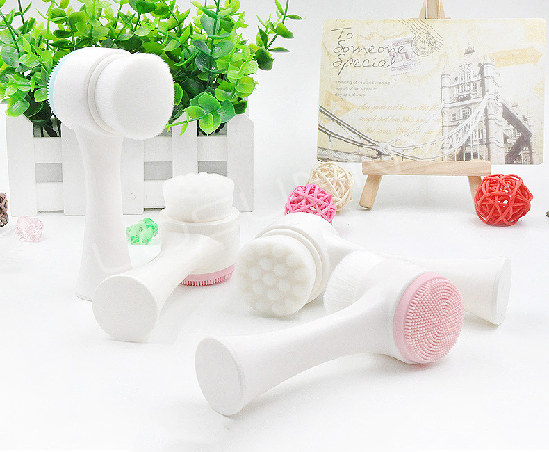 Manual 3D Double Head Wash Brush Soft Silicone Facial Brush Cleanser Waterproof Design Health Facial Female Cleansing Brush
