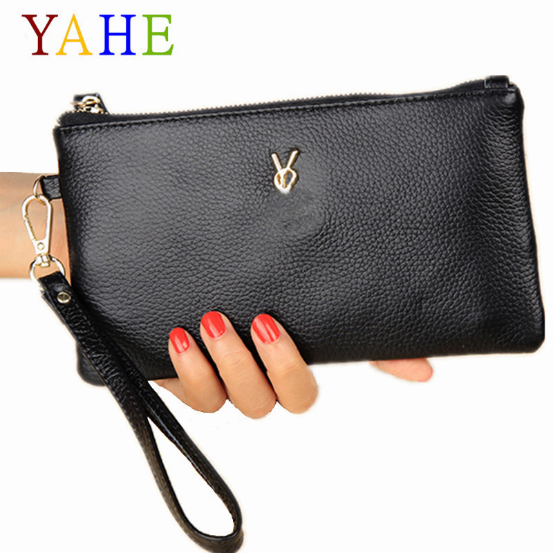 YaHe Women's Purse Genuine Leather Phone Coin Card Holder Wallet Multi-Function Thin Female Wallets With Wristband for Lady 2018