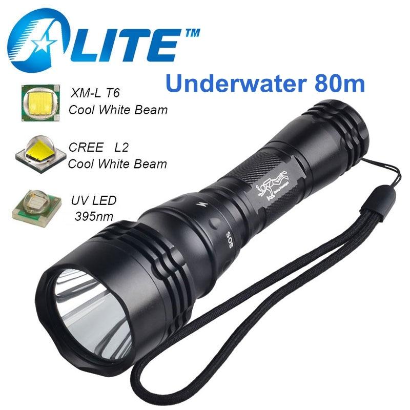 [Libérez Le Bateau] Vente Chaude Sous-Marine 2000LM 10 w T6 CREE L2 UV LED Plongée lampe de Poche Torche pour 18650