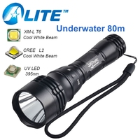 FREE SHIPPING Hot Sale Underwater 2000LM 10W T6 18650 Battery UV White Diving Flashlight LED