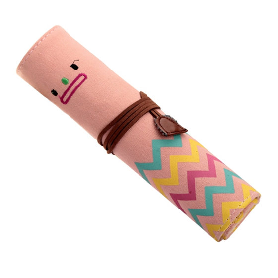 Canvas Roll Smile Make Up Cosmetic Case Bag Pencil Pen Brush Cases Purse Gift цена