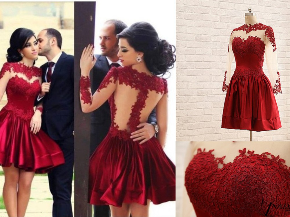 PV6044 Beautiful A Line See Through Applique Lace Red Short Prom Dress Long Sleeve