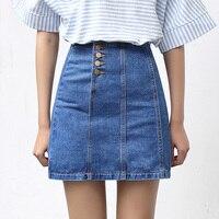 Yichaoyiliang High Waist Metal Buttons Denim Skirts Summer Jeans Skirts 2017 Slim School Girls A Line