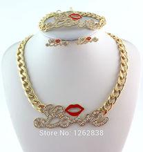 Marca de Joyería de Moda Rojos Labios Sexy Rhinestone Crystal Love Cadena de Oro Collar Pendiente de La Pulsera