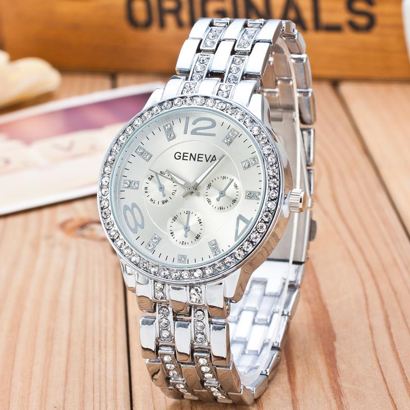 2019 New Famous Brand Gold Crystal Genève Casual Quartz horloge - Dameshorloges - Foto 2