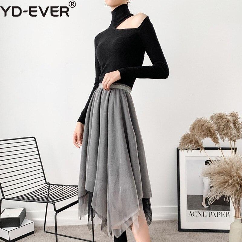 Coreano Asimétrico De Yd Gris ever Mujer Malla Alta Primavera Moda Midi Las Faldas Cintura Mujeres Para Ropa Casual 2019 Falda q5p6p
