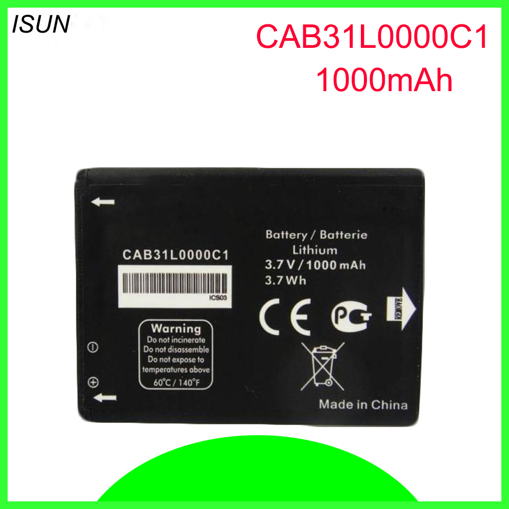ISUNOO 5pcs/lot Replacement CAB31L0000C1 CAB31L0000C2 <font><b>Battery</b></font> <font><b>for</b></font> <font><b>Alcatel</b></font> i808 / TCL T66 A890 phone <font><b>Batteries</b></font> 1000mAh