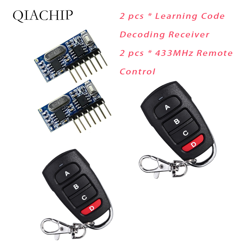 RF Remote Control Transmitter & 433Mhz Wireless Receiver Learning Code 1527 Decoding Module 4 CH Output Learning Button 2-in Remote Controls from Consumer Electronics