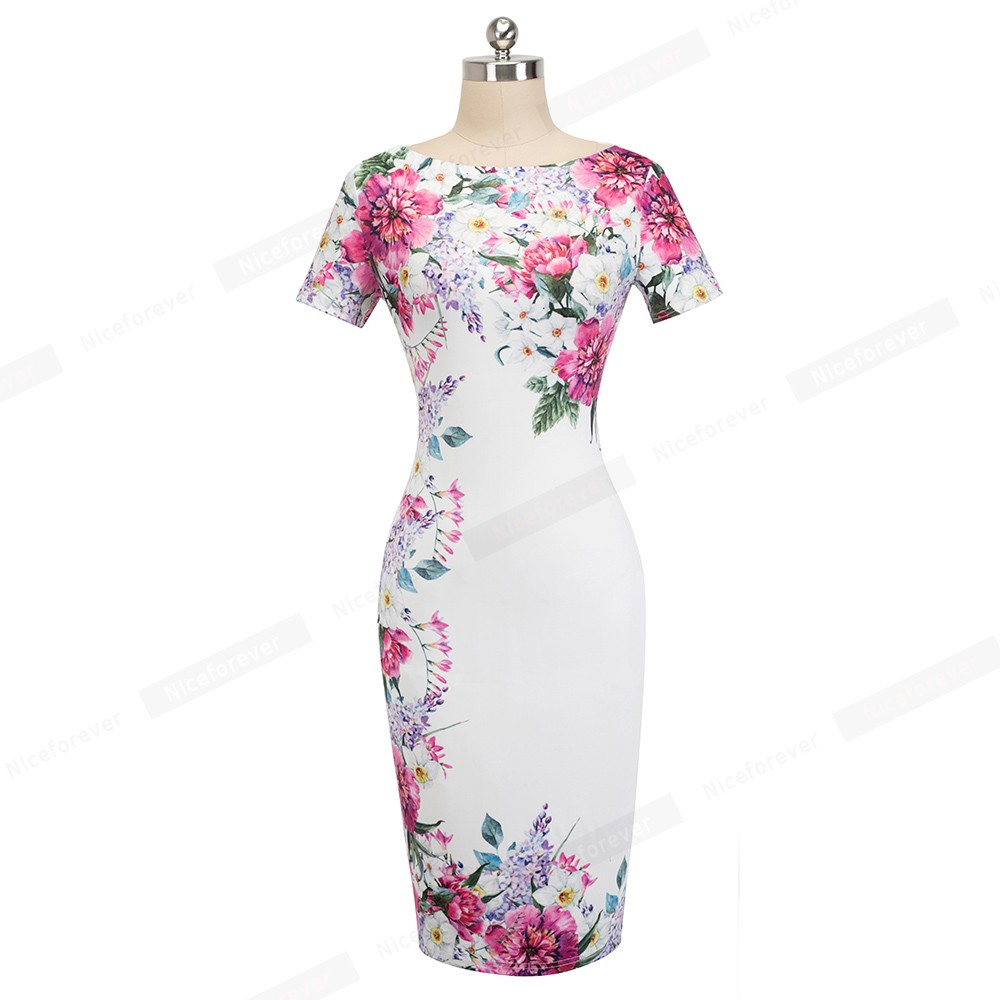 Nice-forever Vintage Flower Print Wear to Work White vestidos Business Bodycon Sheath Women Office Elegant Pencil Dress B455