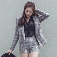 2017 Office Lady Elegant Plaid Short Pant Suits Autumn 2 Two Piece Outfits Women Notched Jacket
