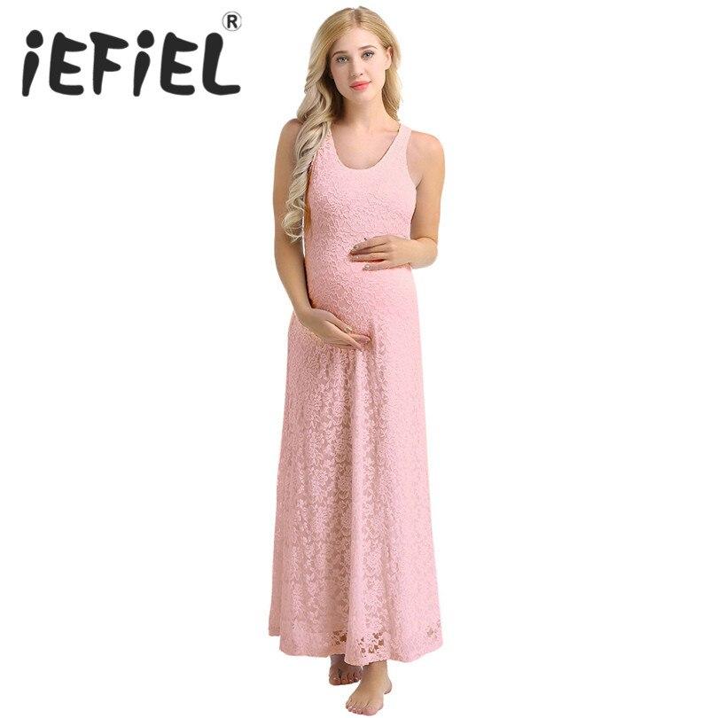 iEFiEL Elegant Women Adults Long Length Lace Sleeveless Dress Maxi Pregnant Photography Party Bridesmaid Summer Princess Dress