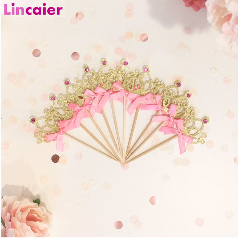 10pcs Gold Crown Cupcake Toppers Wedding Table Decoration Kids Birthday Bachelorette Party Baby Shower Supplies-in Party DIY Decorations from Home & Garden