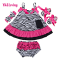 Zebra Baby Dress Girl Toddler Swing Top Ruffle Bloomers Infant Shorts Suit Summer style Princess Sleeveless 2016 New Fashion