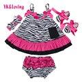 Zebra baby dress menina da criança balanço top irritar bloomers calções infantis terno verão estilo princesa vestido sem mangas 2016 nova moda