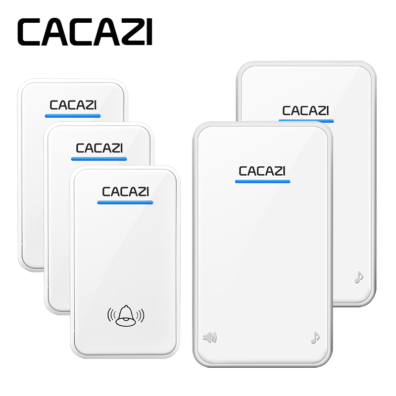 CACAZI Wireless Doorbell Waterproof 48 Rings 6 Volume LED Receiver EU Plug 300M Remote Battery Button Smart Household Call BellCACAZI Wireless Doorbell Waterproof 48 Rings 6 Volume LED Receiver EU Plug 300M Remote Battery Button Smart Household Call Bell