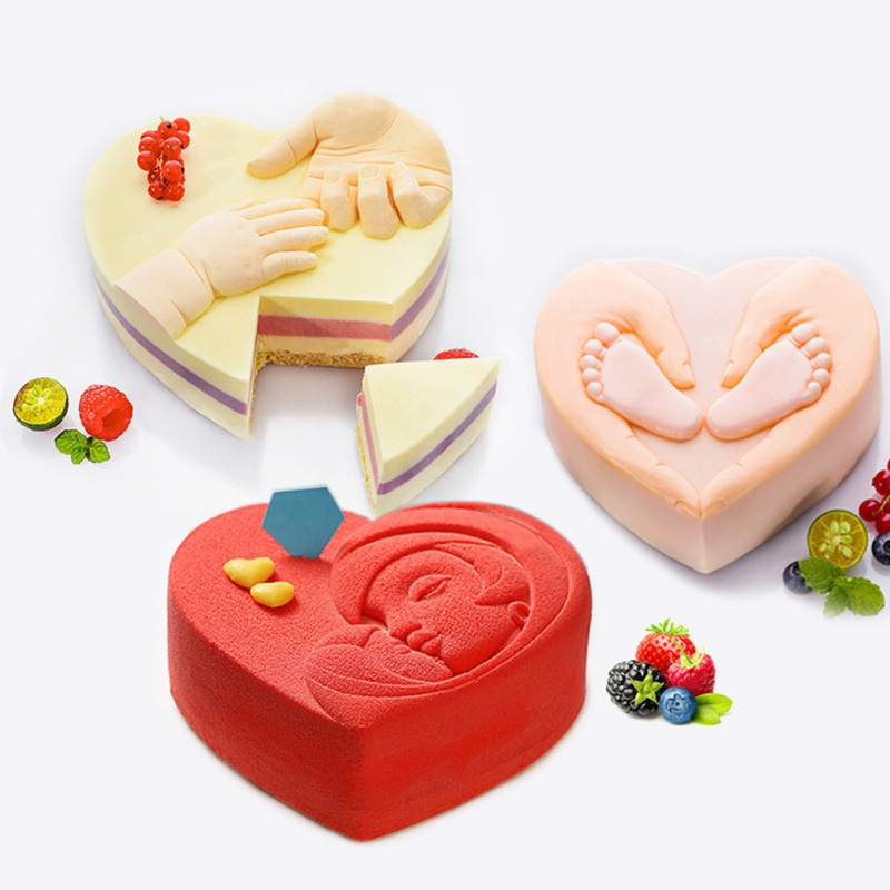 Heart LOVE Silicone Mold Heart Shape Baby Feet Cake Design Pan Mousse Mold Baking Decorating Tools Accessories BPA Free