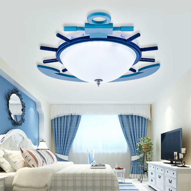 Children S Room Ceiling Lights Lamp Led Eye Care Boy Cartoon Mediterranean Anchor Boat Kindergarten Bedroom Lu721177