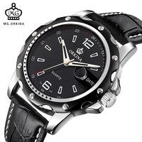 ORKINA Men S Quartz Watch Analog Display Auto Date Leather Strap Japan Quartz Movement Gents Watch