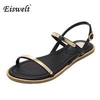 Eiswelt/женские босоножки 2017 удобные ботильоны на плоской подошве повседневные сандалии высокое качество пряжки ремень sandalias mujer # EGMJ112