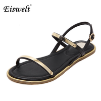 Eiswelt Women Sandals 2017 Comfortable Ankle Strap Flat Casual Sandals Women High Quality Buckle Strap Sandalias