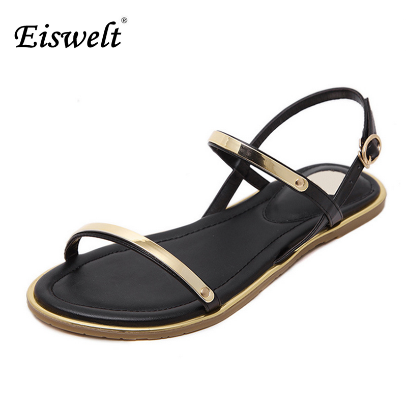 Eiswelt Comfortable Ankle Strap Flat Casual Sandals Women
