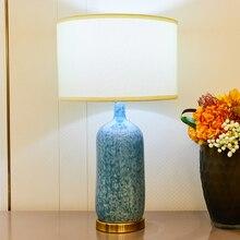 TUDA Chinese Style Snowflake Blue Ceramic Table Lamps For Bedroom Bedside Living Room Led 110v 220v E27