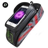 Rockbros MTB Road Bike Bag Waterproof Bicycle Saddle Bag 5.8'' 6'' Touchscreen Bike Phone Case Cycling Front Top Tube Bag