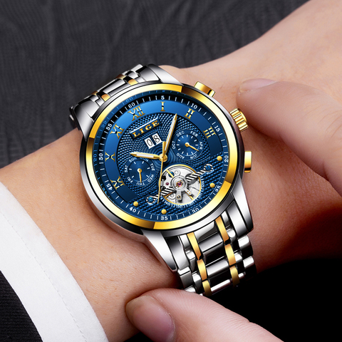 LIGE Watches Men Top Brand Luxury Automatic Mechanical Watch Men Full Steel Business Waterproof Sport Watches Relogio Masculino Karachi