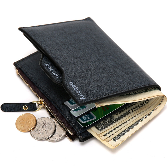 ec150a44ce US $6.51 45% OFF|2019 New Fashion Men Wallets Bifold Wallet ID Card Holder  Coin Purse Pockets Clutch with Zipper Men Wallet with Coin Bag Gift-in ...