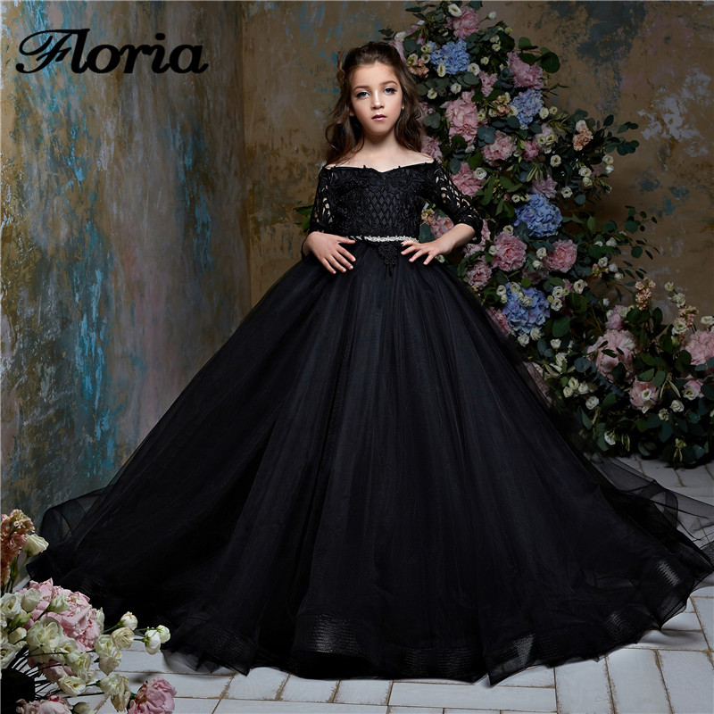 Black Ball Gown   Flower     Girl     Dress   Vestidos Daminha New Arrivals 2018 Pageant Gowns For Wedding First Communion   Dresses   For   Girls