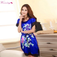 WEIXINBUY Ladies Sleepwear Dress Round Neck Printed Women Nightgowns Clothes Summer Autumn Latest