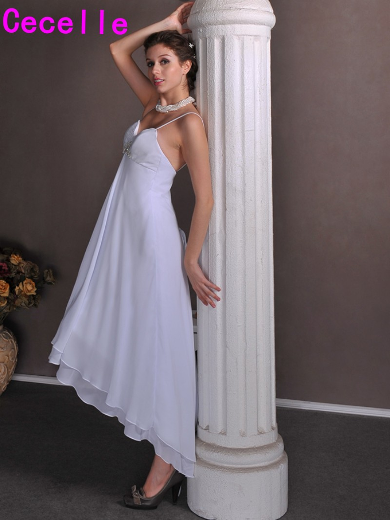 2017 high low empire maternity wedding dresses short front long 2017 high low empire maternity wedding dresses short front long back with spaghetti straps corset informal beach wedding gown in wedding dresses from ombrellifo Images