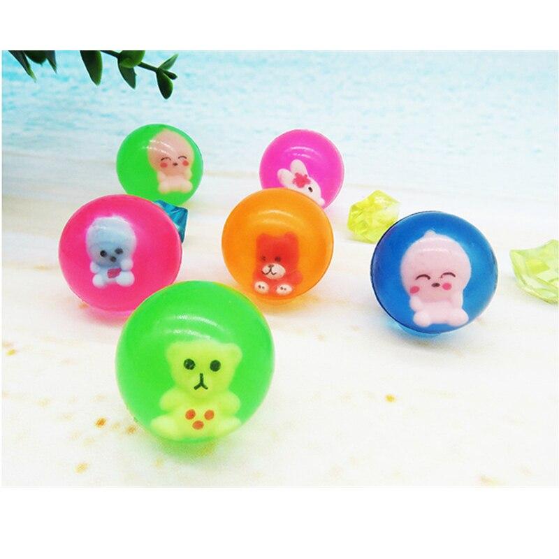 200 pièces animaux de bande dessinée caoutchouc balles rebondissantes jeux de Sports de plein air jouets de bain enfant élastique jonglage balles sautantes