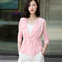 Free Shipping Women S Solid Color Long Sleeve Thin Cardigan With Belt For Spring Autumn