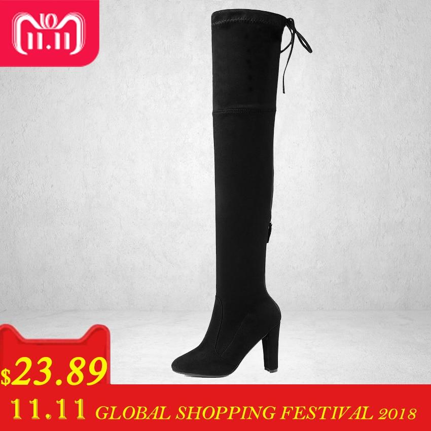 Esveva 2017 primavera estilo ocidental sobre as botas do joelho praça alta Das Mulheres do salto Botas Sexy Ladies Lace Up Moda Botas Tamanho 34-43