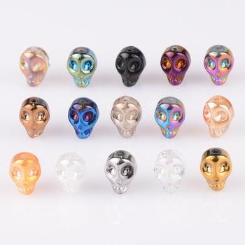 цена на China Top quality 20pcs/lot Skull Crystal Glass Loose Spacer Beads 10x8x7mm diy