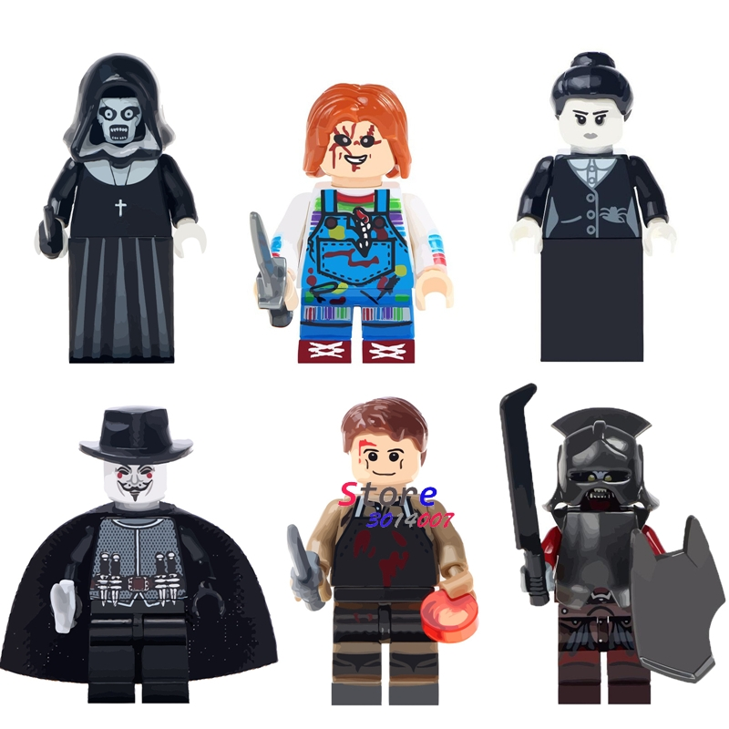 Single The Horror Theme Movie Halloween Nun Sinter guy fawkes mask Dexter Morgan Creepy Doll building blocks toys for children v for vendetta anonymous guy fawkes resin mask white