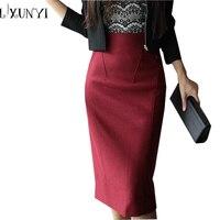 Autumn Winter Wool Skirts Women Plus Size Korean Ladies Over knee Long Pencil Skirt Woman Woolen Skirt XS S M L XL XXL XXXL 4XL
