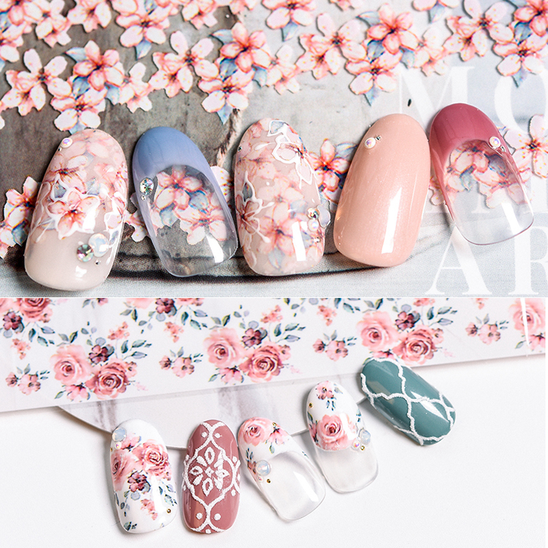 1pc 100 4cm Flower Design Nail Art Foil Transfer Stickers Nail Decals Nail Holographic Rose Daisy Decals in Stickers Decals from Beauty Health