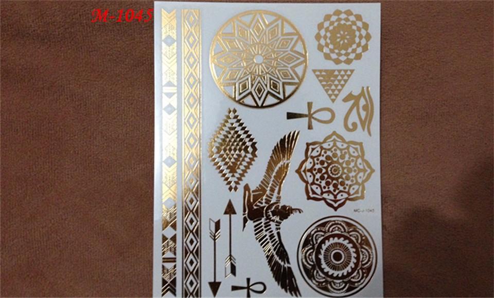 5PCS Hot tattoo New Fashion Metalic Gold Tatoo Temporary Flash Tattoos Sex Products Henna Metal Bling Body Paint Stickers 5