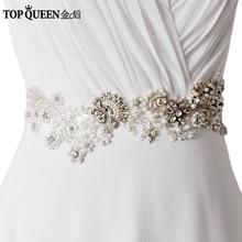 TOPQUEEN S157 Stock Luxury Rhinestone crystal Brand design Hand Made top quality bridal wedding waistband belt sash