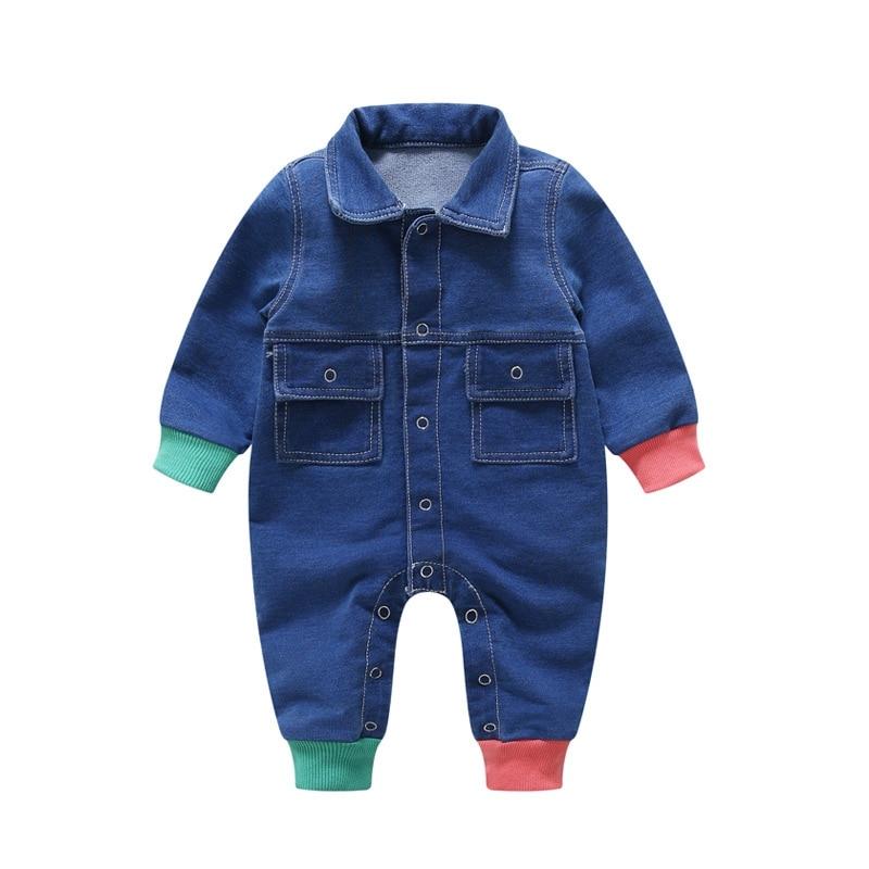 b5dc3014ba60 2018 Infant Baby Costume Star Blue Denim Jumpsuit Newborn Boys Girls Romper  Babies Clothes Cowboy Fashion
